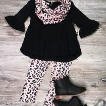 Black & Blush Animal Print Muslin Scarf Set Photo