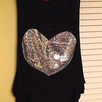Black Blush Large Tank Top With Silver Sequin Heart Photo