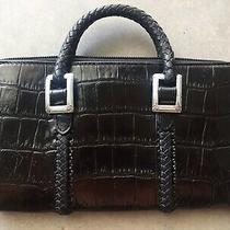 Black Brighton Croc Leather Braided Handle Clutch Wallet - Crossbody/shoulderbag Photo