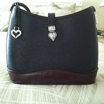 Black Brighton Leather Purse With Brown Leather Trim... Photo