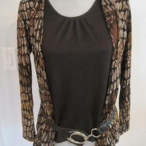 Black & Brown Blouse/tank/jacket With Belt by Elements  Nwot Size Ps Photo