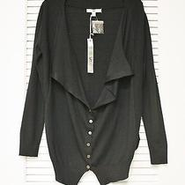 Black Button Front Drape Cardigan M  Anthropologie Earring Photo