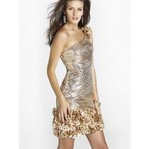Black by Blush Prom Gold Sequin One Shoulder Prom Dress Size 6 Orig. 325 Photo