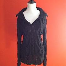 Black Cable Knit Collard Sweater Size M Photo
