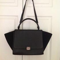 Black Celine Trapeze Drummed Leather and Suede Bag Luggage  Photo