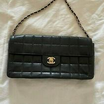 Black Chanel Purse Quilted Gold Accents Small Evening Bag Soft Leather Clutch  Photo
