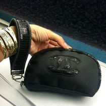 Black Chanel Sequin Vip Cosmetic/wrist/clutch Bag Photo