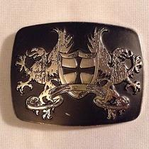 Black Chrome Belt Buckle Griffin Shield and Cross 3.25