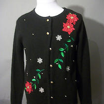 Black Classic Elements Sweater S 6-8 Black Cardigan Red Poinsettia Floral Accent Photo