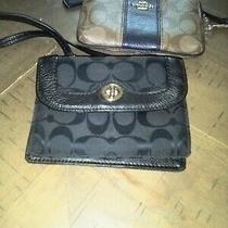 Black Coach Crossbody Wallet Purse and Khaki Wristlet Purse Bundles Lot Pre-Own Photo