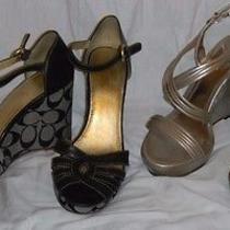 Black Coach Katherine Gold Aldo Strappy Wedge Heels Size 8 39 Photo