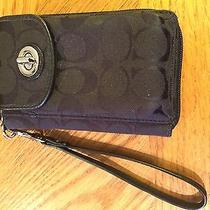 Black Coach Partial Leather Wristlet Wallet Iphone Phone Photo
