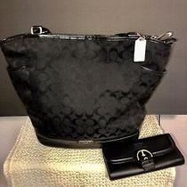 Black Coach Purse F23295 Zip Top Tote With Wallet  No Box  Photo