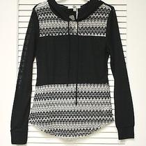 Black Contr Hoodie Knit Top S W/ Anthropologie Earrings Photo