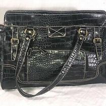 Black Croc Print Design Large Purse Shoulder Bag Photo