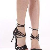 Black Croc Skin Faux Leather Strappy Stripper Heels Sz 9 Photo