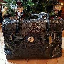 Black Croco Leather Satchel Handbag Coach 1500 Retail Great Xmas Gift Photo