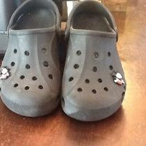 Black Crocs Sz 12/13 With Mickey Mouse Photo
