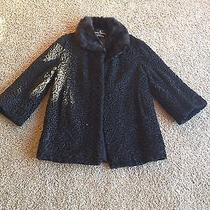 Black Curly Lamb Jacket With Black Mink Collar Photo