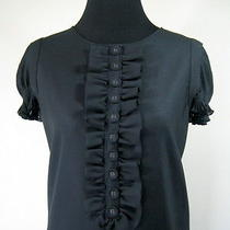 Black Dress Size Medium Drapey Grunge Laundry Babydoll  Mini Bloused Ruffles Photo