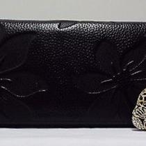 Black Embossed Floral Wallet & Jaguar Key Ring Swarovski Elements 2pc Gift Set Photo