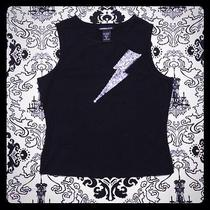 Black Express Tank Top Embellished With Silver Sequin Lightening Bolt Photo