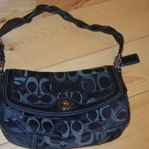 Black Fabric Leather Chelsea Small Coach  Handbag Hobo Purse 9