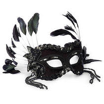 Black Fantasy Feather and Sequin Mask Photo
