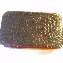 Black Faux Croc Wallet With Cell Phone Pouch Photo
