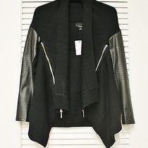 Black Faux Leathe Rslev Zipper Detail Cardigan S  Anthropologie Earring Photo