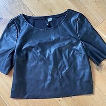Black Faux Leather T Shirt Top 6 h&m Photo