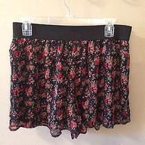 Black Floral Shorts M Express Wide Elastic-Waistband Slip-on Stretch Sheer Skort Photo