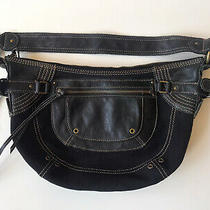 Black Fossil Purse Canvas and Leather Photo