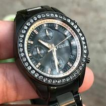 Black Fossil Watch With Rhinestone Details Photo