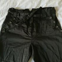 Black Gathered Waist trousers.tie Belt. h&m. Cotton/elastane. Size 12. Buttons.  Photo