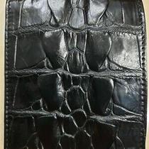 Black Genuine Alligator Crocodile S Bally Leather Skin Men's Bifold Wallet.. Photo