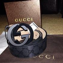 Black Gg Imprime Gucci Belt 95cm Fits Men's 32-34 Photo