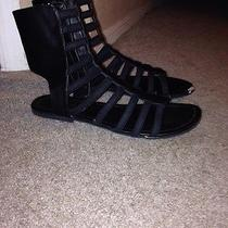 Black Gladiator Sandals Size 8 Womens Mid Calf Stretchy Straps Photo