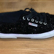 Black Glitter Velvet Superga Sneakers Size 39.5/9.5 Photo