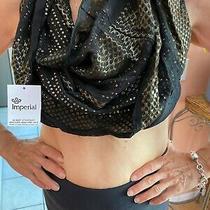 Black Gold Scarf Face Cover Bandana Belt Bebe Sequined Silk Photo