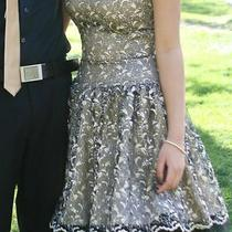 Black & Gold Short Formal/prom Lace Dress Jessica Mcclintock 52534 Photo