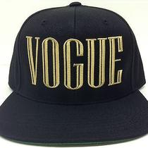 Black & Gold Vogue Balmain Snapback Hat Cap Flat Bill Text Script Couture Dope Photo