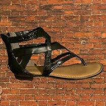 Black Guess Sandals Size 6. Part Snake Skin Print Part Matt Shoe Photo