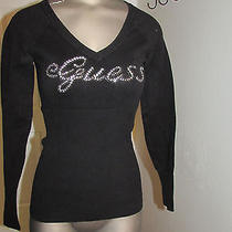 Black Guess v-Neck Sweater With Rhinestones M Photo