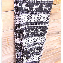 Black Heather Gray Reindeer Snowflake Reindeer Southwest Tights Leggings Small S Photo