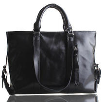 Black Italian Leather Handbag Purse Hobo Bag Satchel Tote Photo