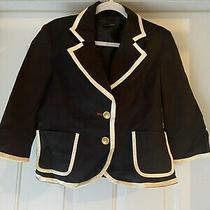 Black Jacket Blazer With White Trim and Gold Buttons Size M Women Forever 21 Photo