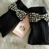 Black Juicy Couture Fingerless Dressy Gloves With Diamonte Trim New With Tags Photo