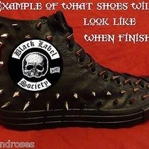 Black Label Society Metal Custom Studded Converse Shirt Sneakers Shoes W Spikes Photo