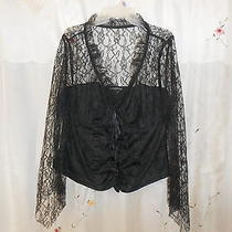 Black Lace Corset Blouse Size 2x Photo